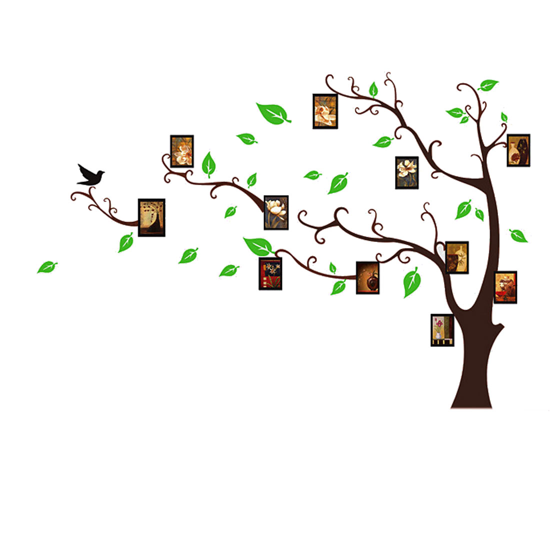 Wall Decoration Tree Leaf Photo Print Vinyl Decal Sticker Brown Green Art Mural