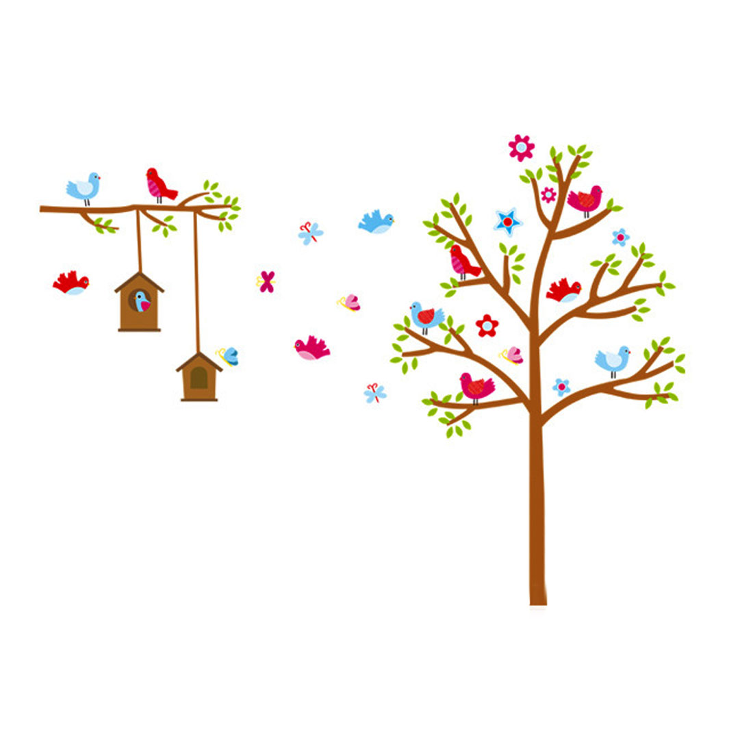 Home Wall Decor Tree House Bird Wall Art Wall Sticker Colorful 900mm x 610mm