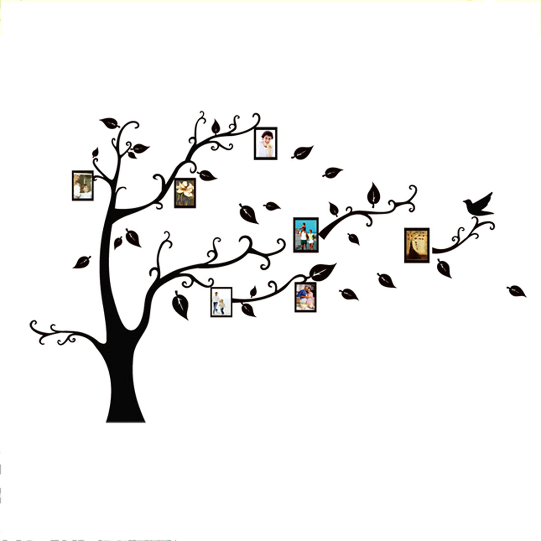 Wall Decor Removable Tree Leaf Bird Pattern Wall Art Wall Sticker Black White