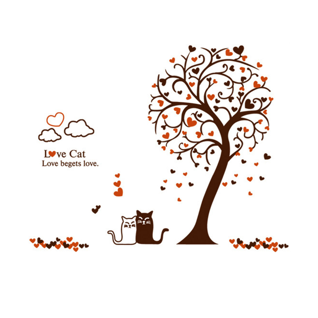 DIY Wall Decoration Heart Shape Tree Cats Pattern Wall Stickers Art Mural
