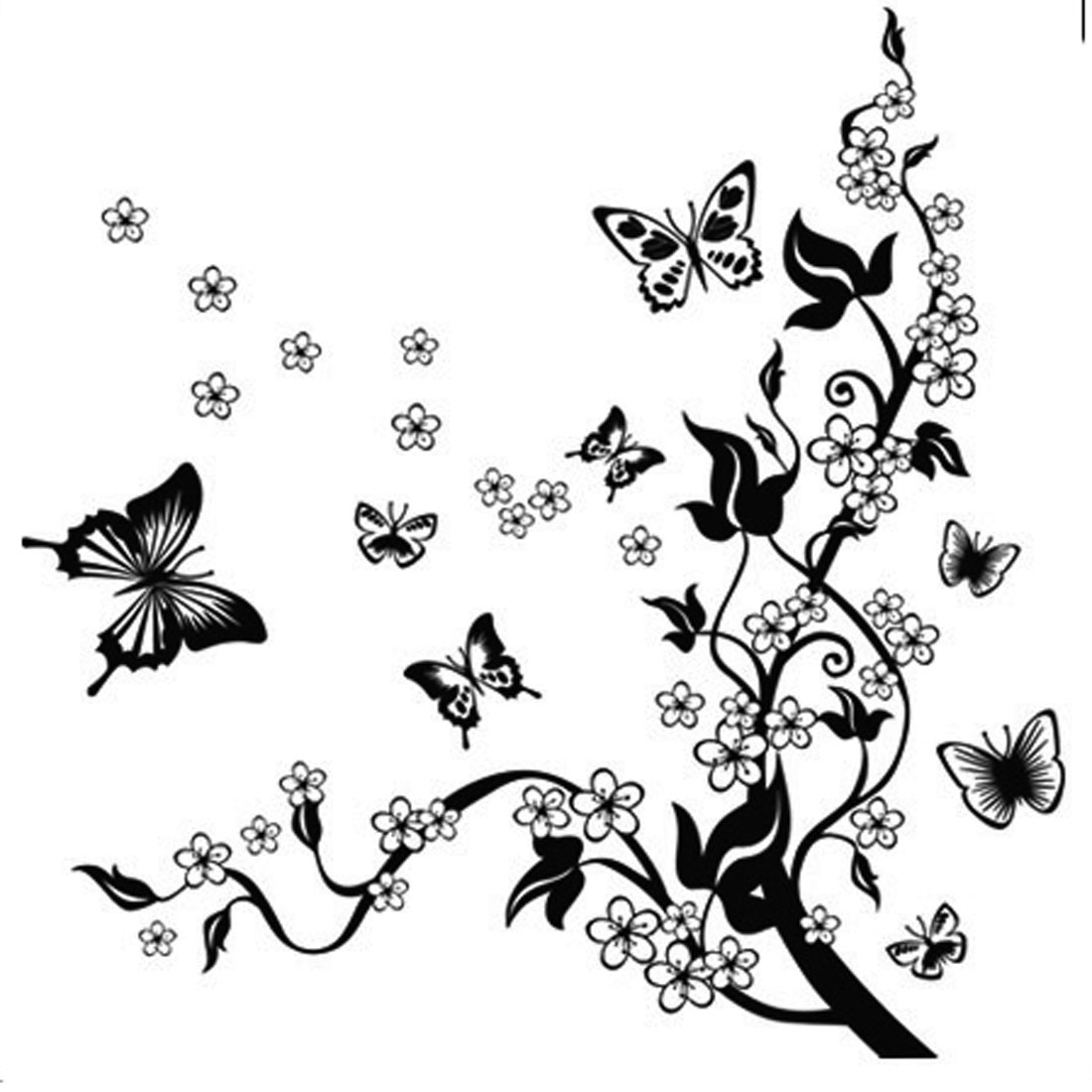 Wall Ornament Black White Flower Butterfly Pattern Wall Sticker Wall Art