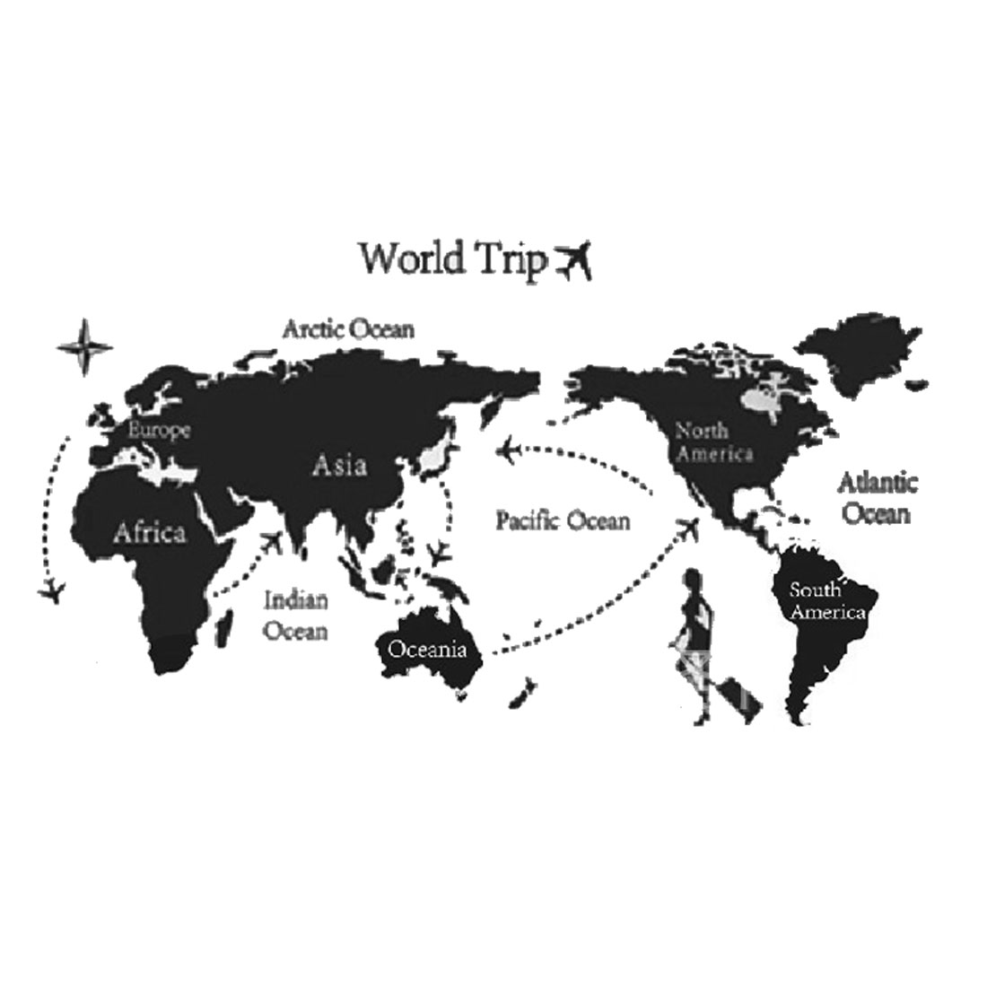 Wall Decor World Map Travel Pattern Decal Stickers White Black