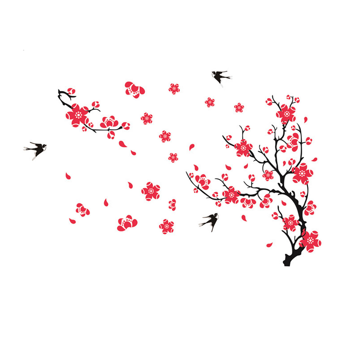 Wall Decoration Rectangle Tree Flower Birds Printed Wall Sticker