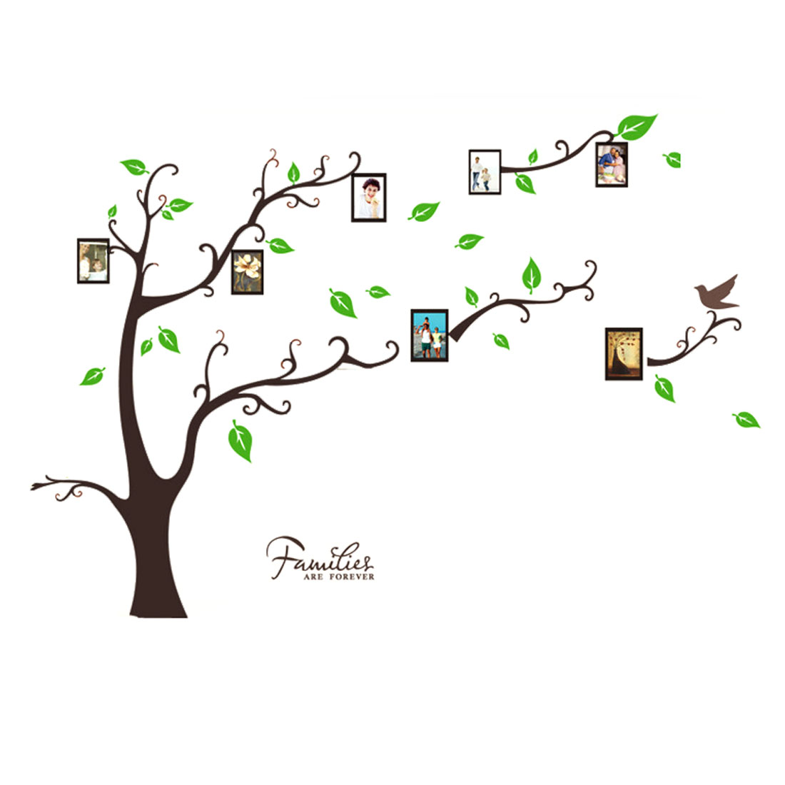 Green Leaf Tree Bird Printed Wall Decoration Rectangular Wall Stickers