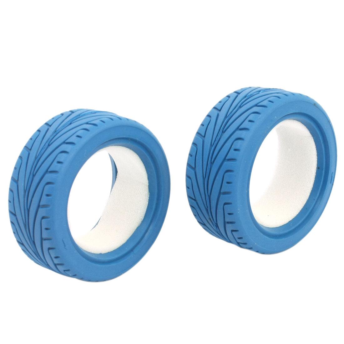 2pcs Blue DIY 1:10 Scale 65mm Wheel Tire for RC Model Flat Racing Car