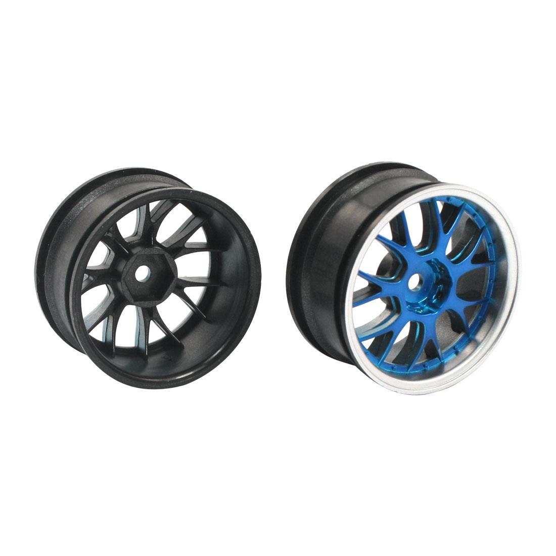 2pcs Black 1:10 RC Model Flat Racing Car Truck Hard Tyre 52mm Wheel Tire
