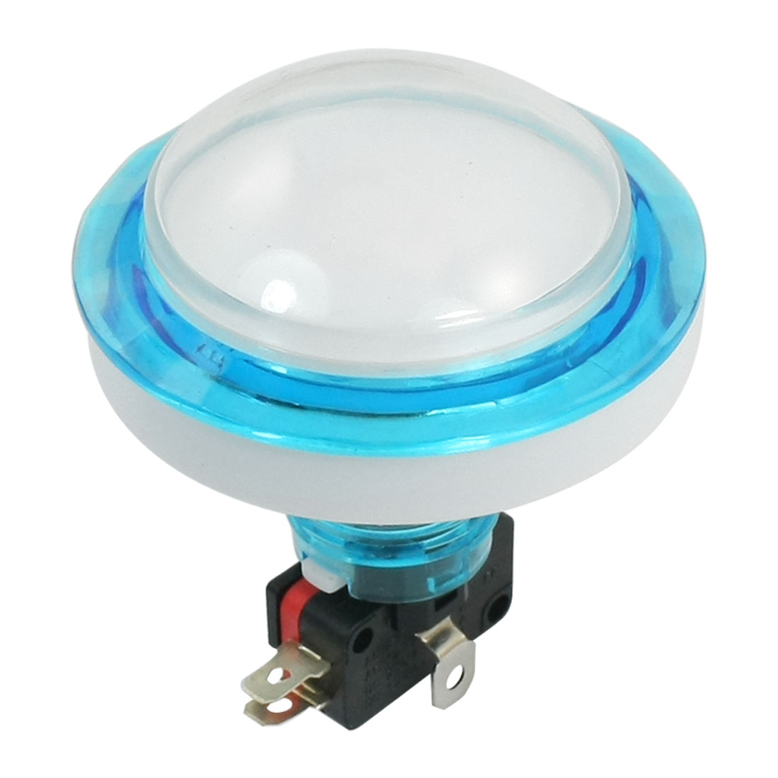 DC12V 23mm Dia Thread Panel Mount White Pilot Lamp SPDT 5-Pin 1NO 1NC Momentary Control Plastic Push Button Switch