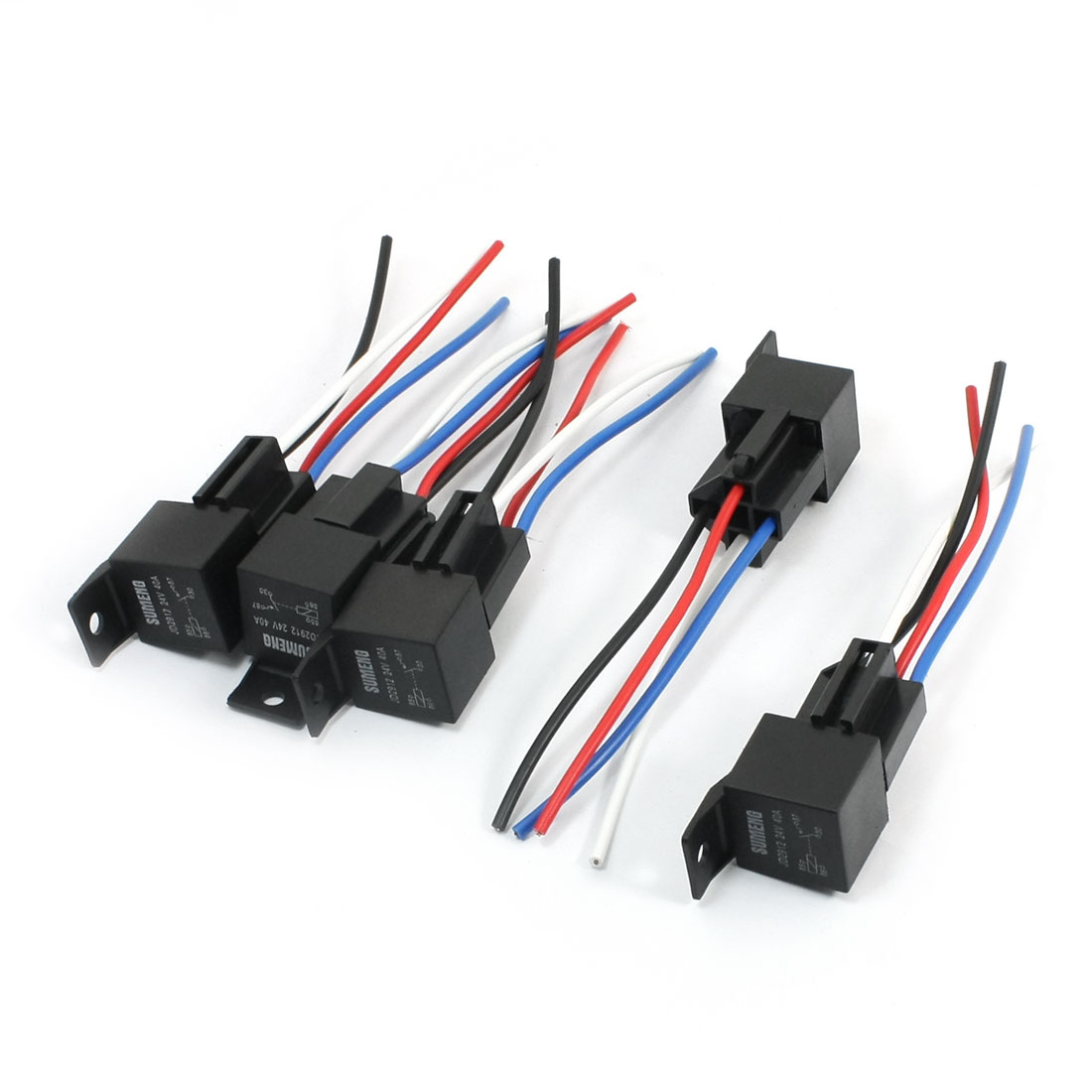 5Pcs JD2912 DC24V Coil Voltage 4 Wired Plastic Adapter Socket Holder 4-Pin SPST 1NO Normal Open Car Auto Relay 40A