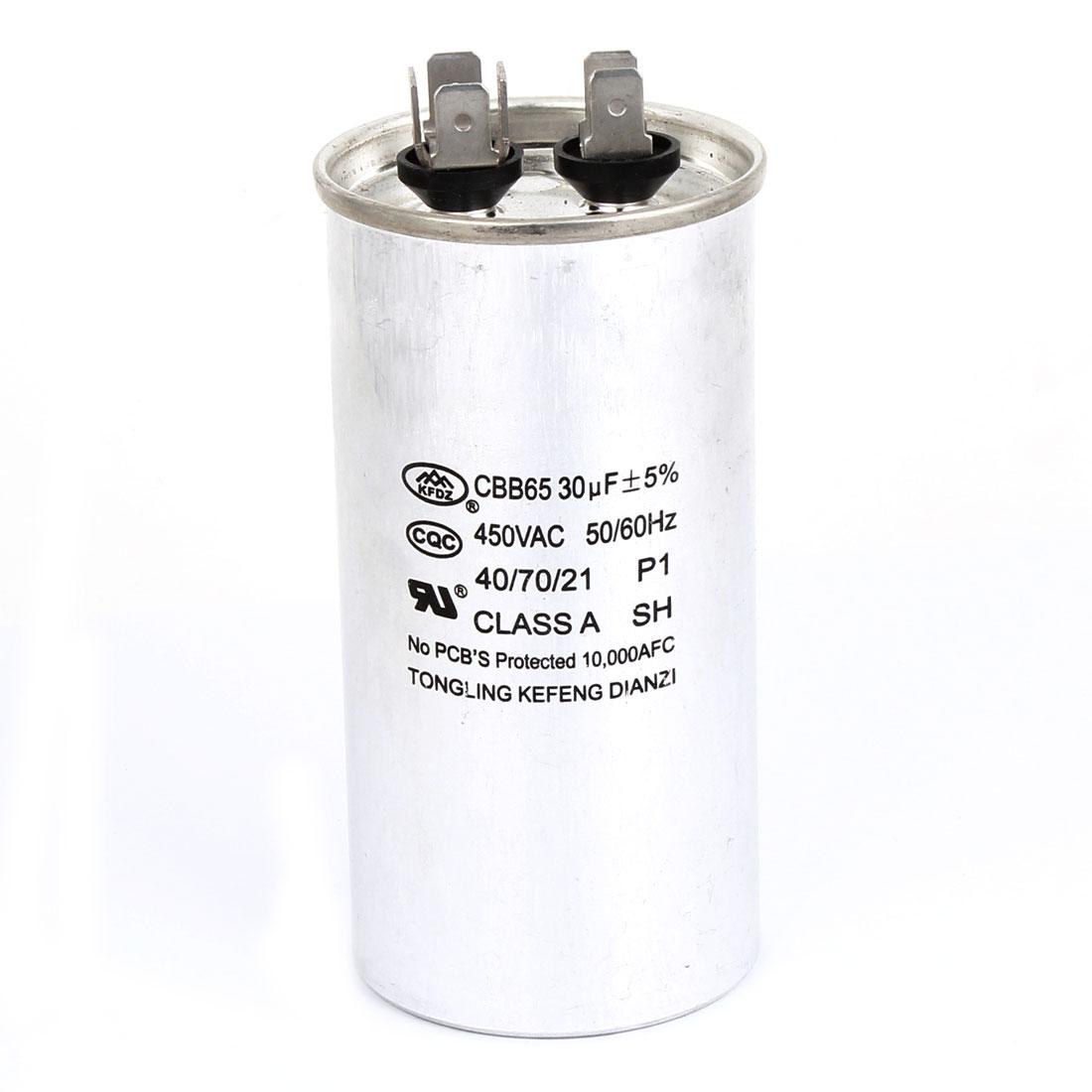 Cylinder Shaped Polypropylene Film Motor Capacitor AC 450V 30uF CBB65