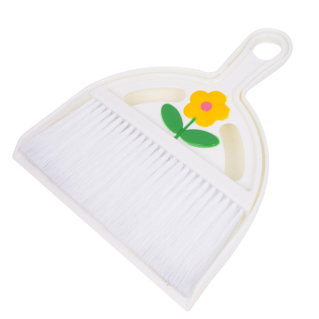 Home Desk Cleaning Tool White Plastic Flower Pattern Broom Dustpan Set 2 in 1