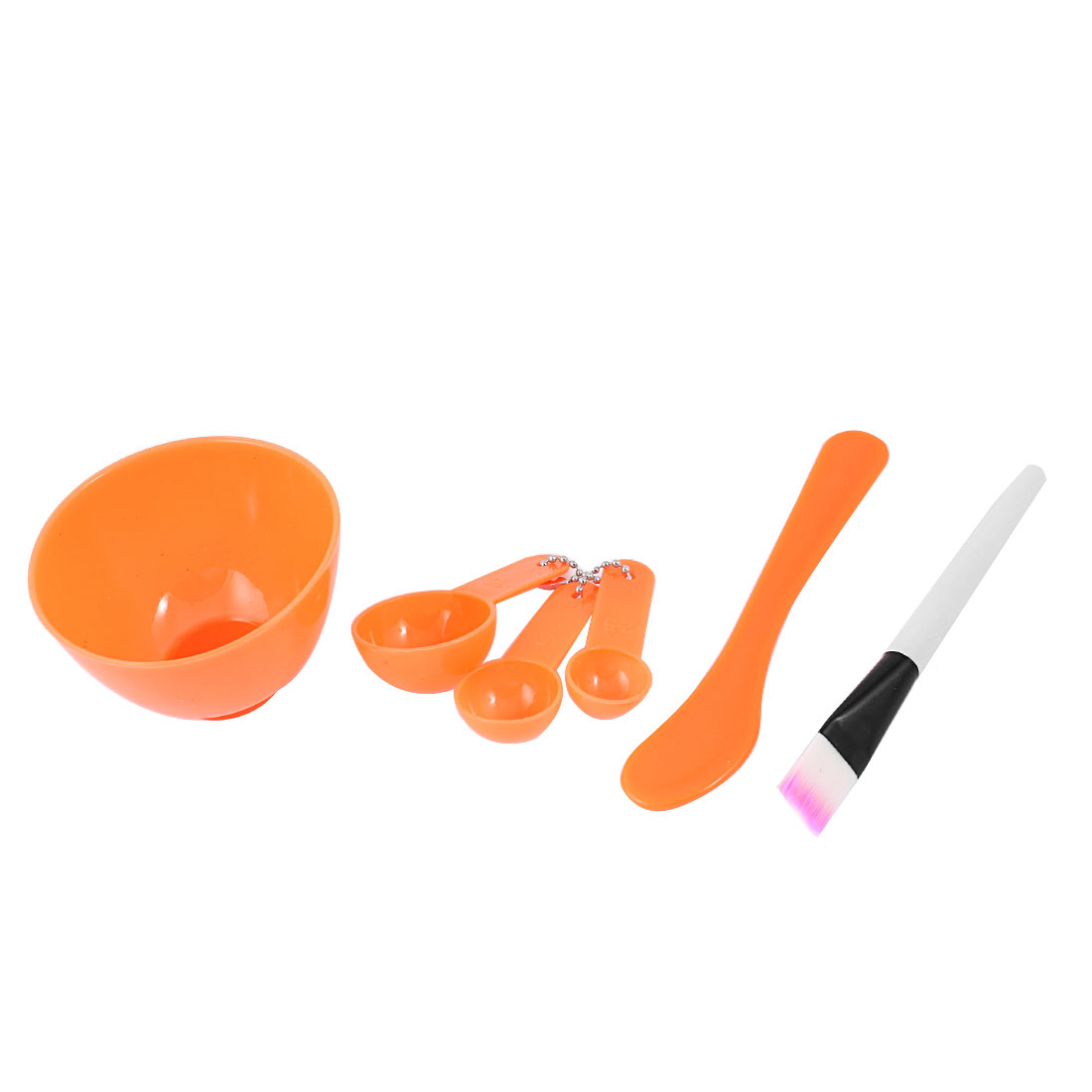 Orange 4 in 1 Cosmetic Tool Mask Mixing Stick Brush Spoon Bowl Kit