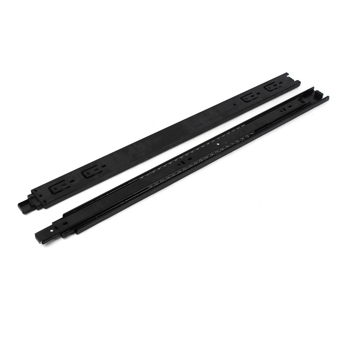 "2 Pcs Black Full Extension Ball Bearing Drawer Smooth Slides Rail 24"""