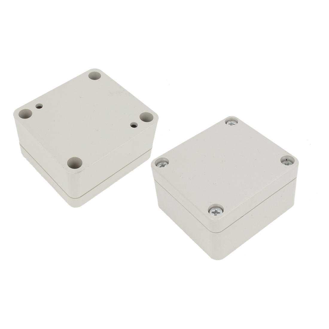 2 Pcs Plastic Mounted Power Protective Case Junction Box 63 x 57 x 35mm