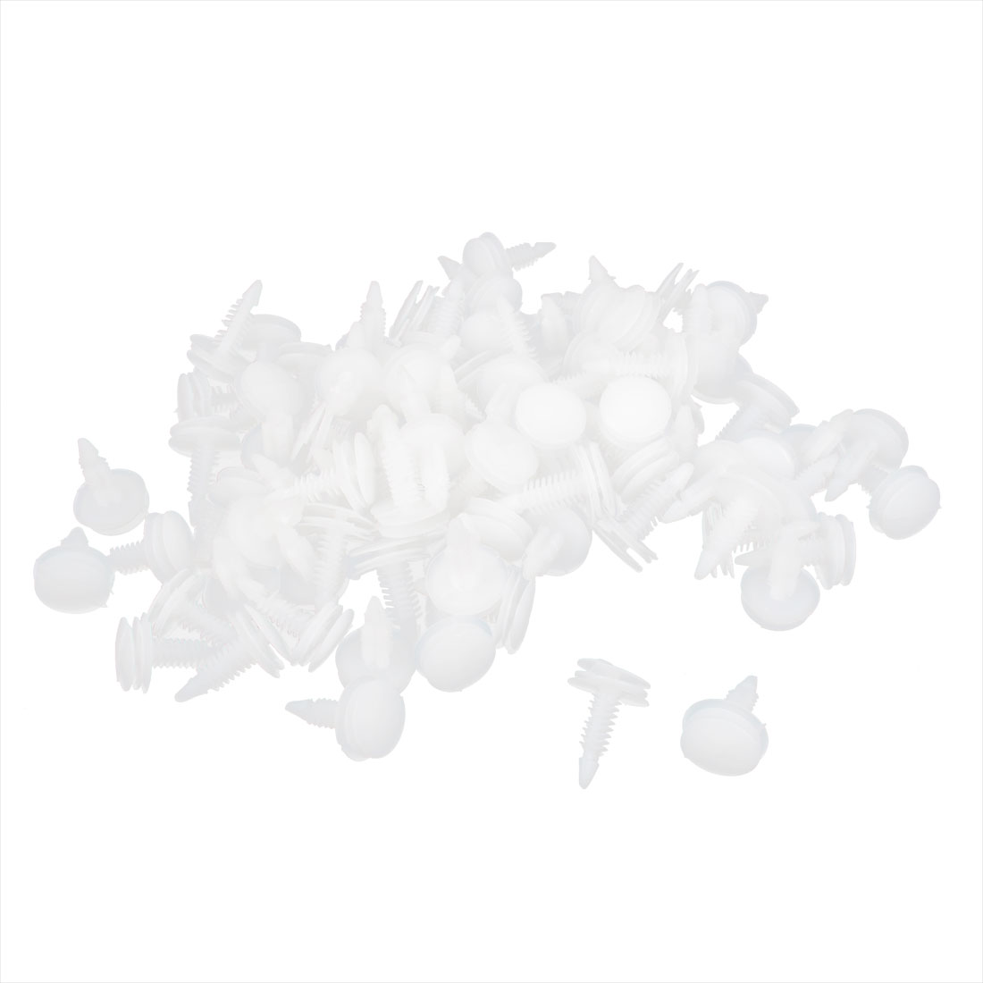 100PCS 8 x 18mm Hole Plastic Rivet Fastener Panel Fixings Clips White for Car Auto