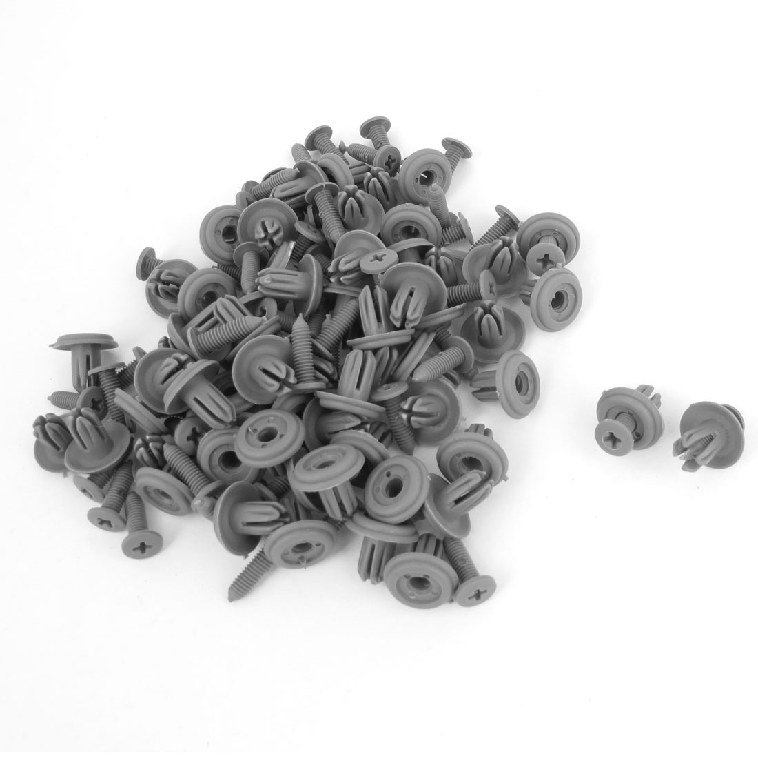 100 PCS Push in Type Plastic Rivets Fender Clips Gray for 6.3mm Hole