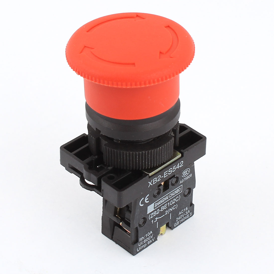 Ui 600V Ith 10A SPST NC Emergency Stop Latching Red Mushroom Push Button Switch