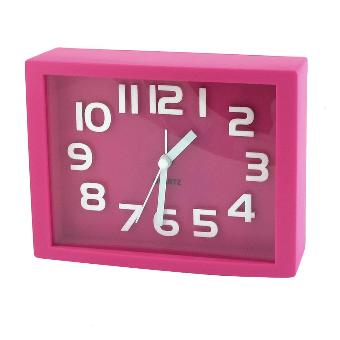 White Plastic Arabic Number Marking Square Dial Alarm Clock Fuchsia