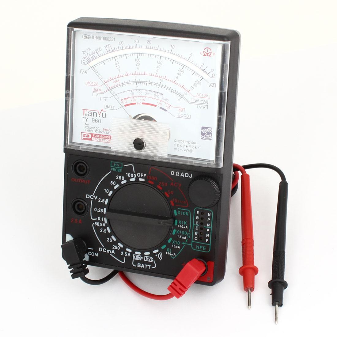 Black Ohm Ampere Volt Diode Decibel Measuring Analog Multitester TY-960