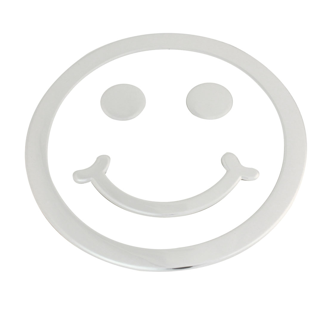 Silver Tone Smile Face Shaped 3D Sticker Decal Ornament for Vehicle Car