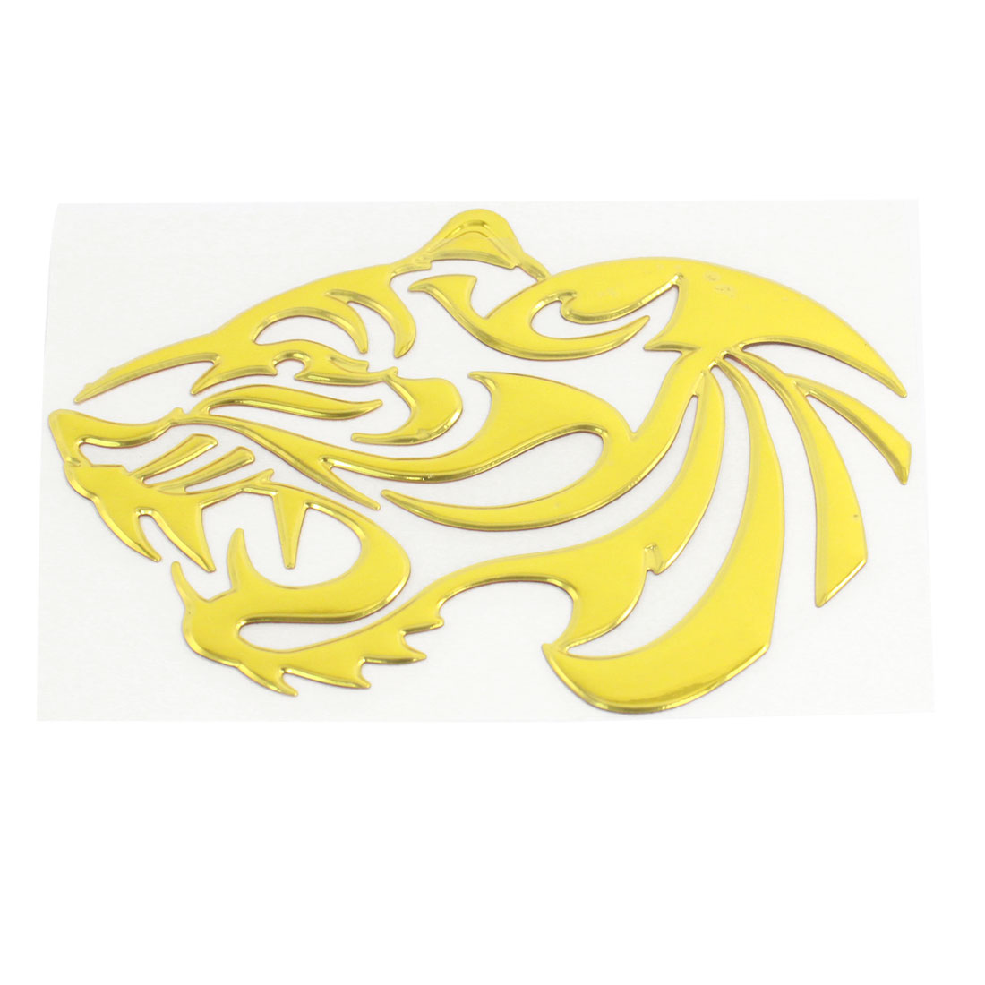 Silver Tone Tiger Print Plastic Self Adhesive 3D Sticker Decal for Car Furniture