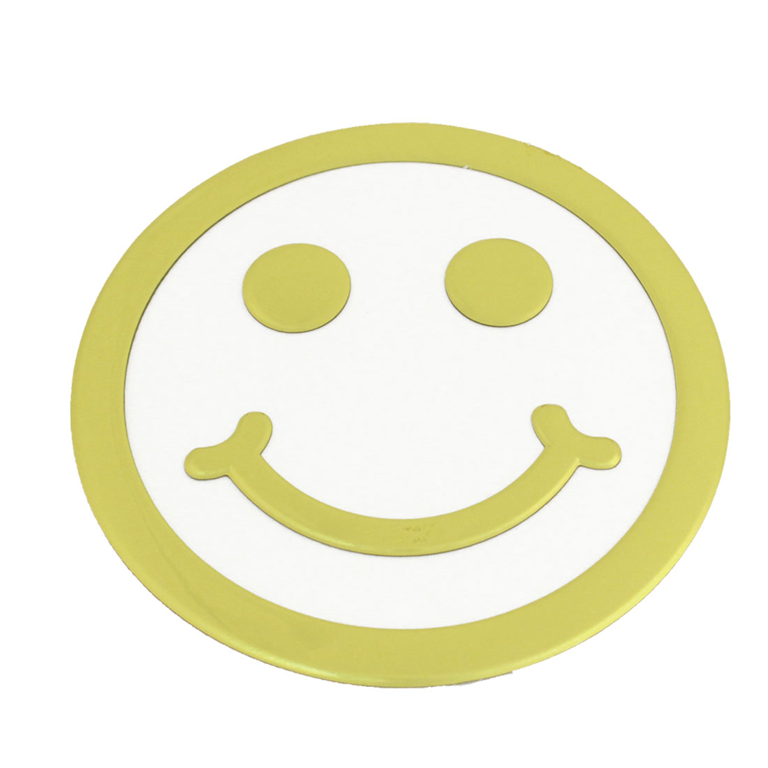 Gold Tone Smile Face Shaped 3D Sticker Decal Ornament for Vehicle Car