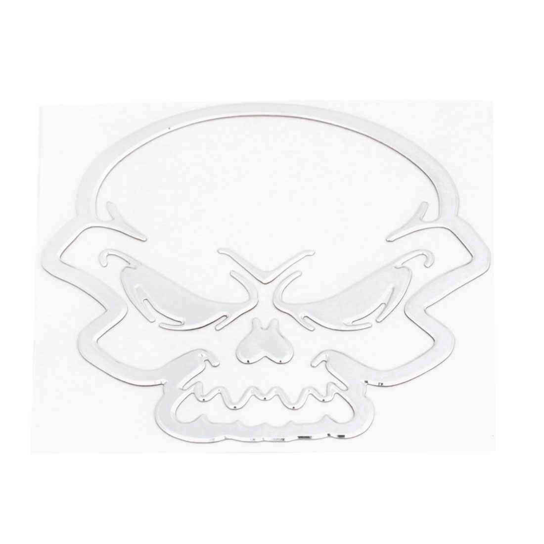 Silver Tone Skull Pattern Plastic Self Adhesive 3D Sticker Decal Ornament for Car