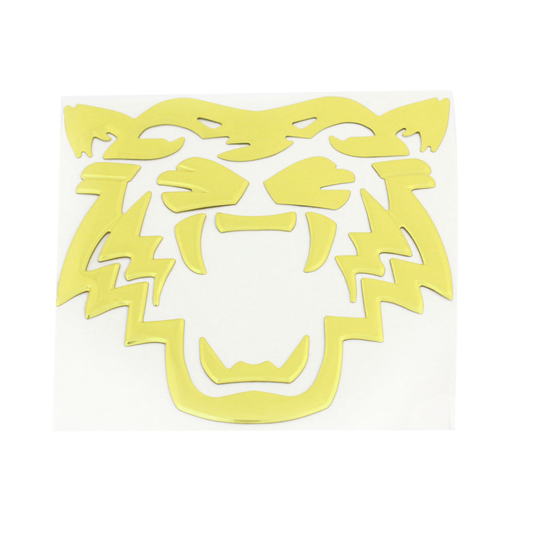 Gold Tone Tiger Pattern Plastic Self Adhesive 3D Sticker Decal Ornament for Car