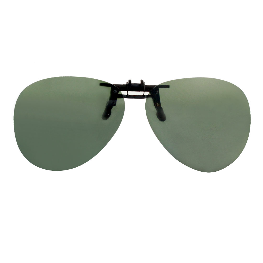 Unisex Teardrop Shape Green Lens Rimless Anti Glare Clip Polarized Sunglasses Eyeglasses