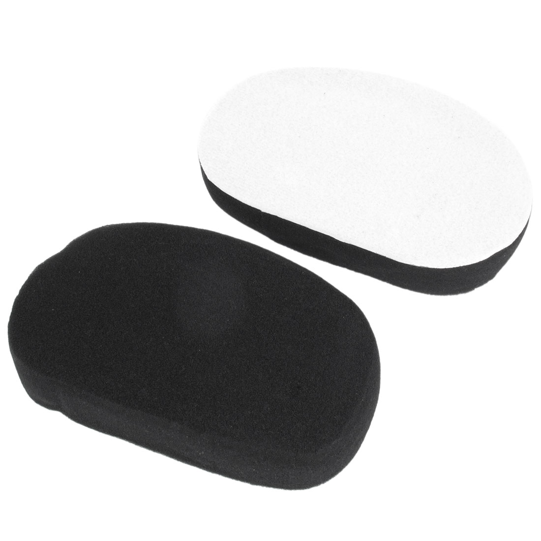 2 Pcs Black White Oval Shape Soft Sponge Car Washing Cleaning Pad