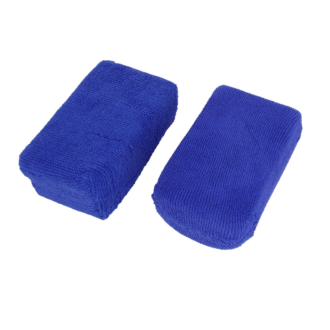 2 Pcs Vehicle Car Wash Pads Blue Terrycloth Coated Soft Sponge 12cm x 7.5cm
