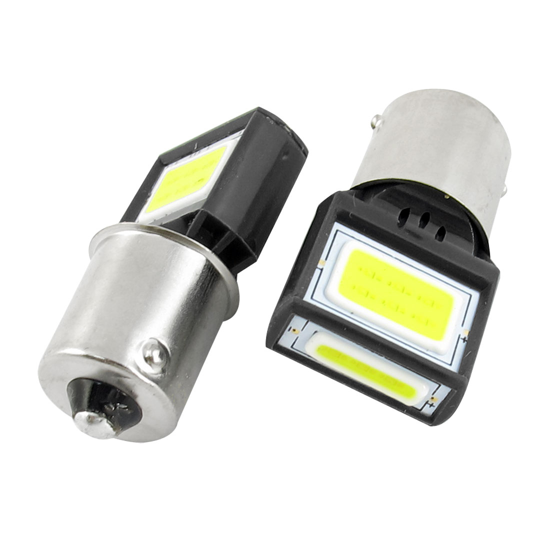 2 Pcs 1156 White 15 COB Car Braking Tail Projector Lens Light Bulb 8W