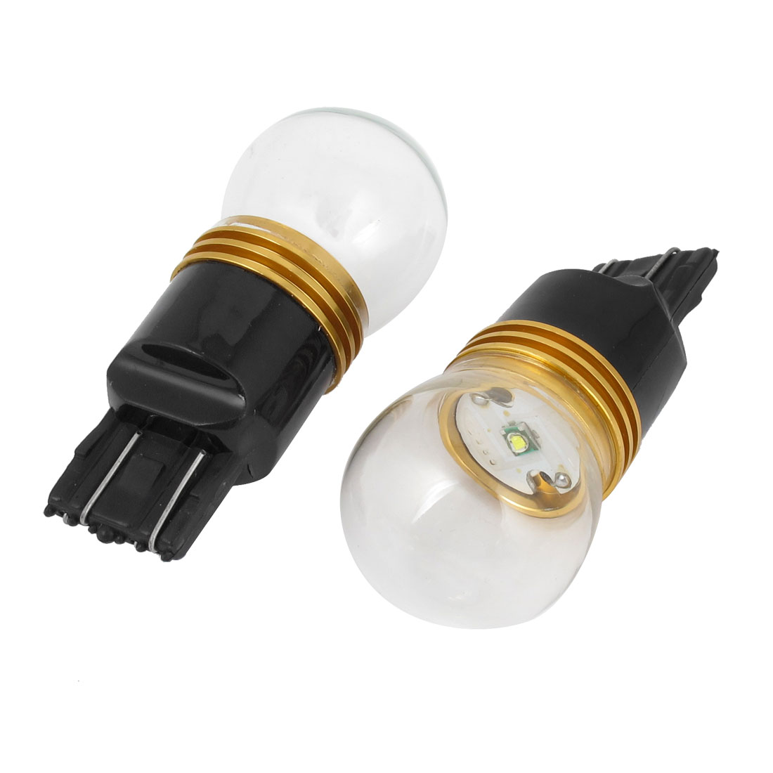 2 Pcs 5W 7443 Socket Clear Glass Shell White Turn Signal Light for Car Auto