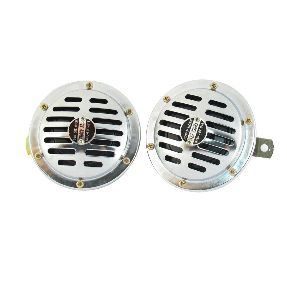 2 Pcs Vehicel Car Silver Tone Metal Shell Warn Horn Trumpet Speaker DC 12V