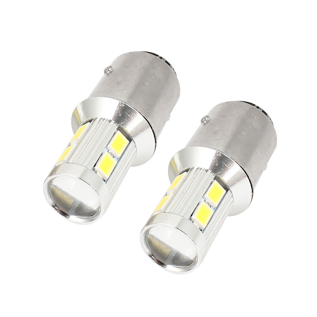 Pair 1157 BAY15D 10 5630 SMD White Lens LED Auto Signal Tail Light Bulb 12-30V