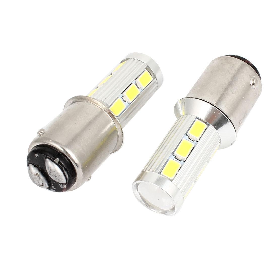 Pair 1157 5630 14-SMD White LED Lens Braking Turning Signal Light 12-30V for Car