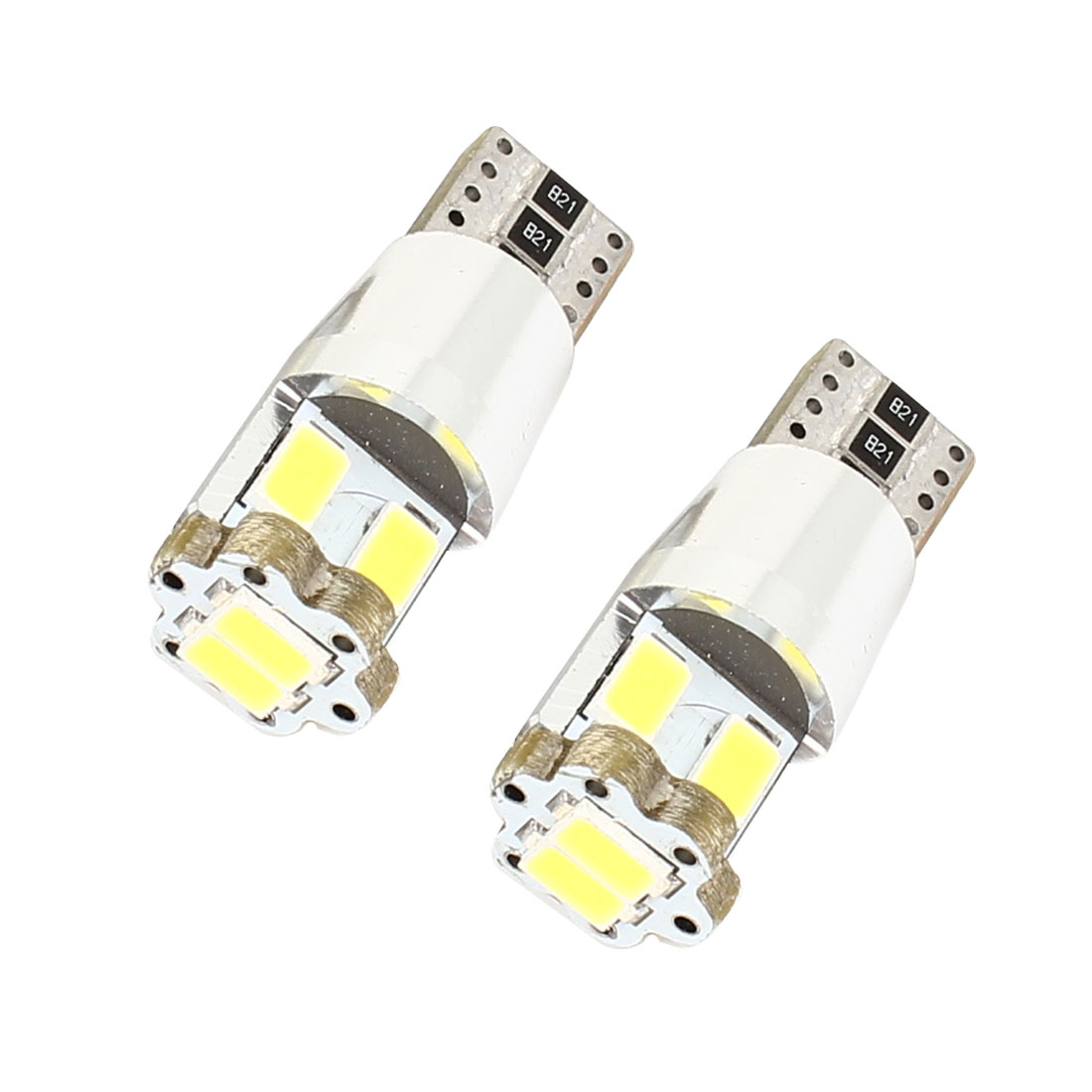 2 Pcs Car Cambus T10 W5W 194 6 5630 SMD LED Side Wedge Marker Light White 12V internal