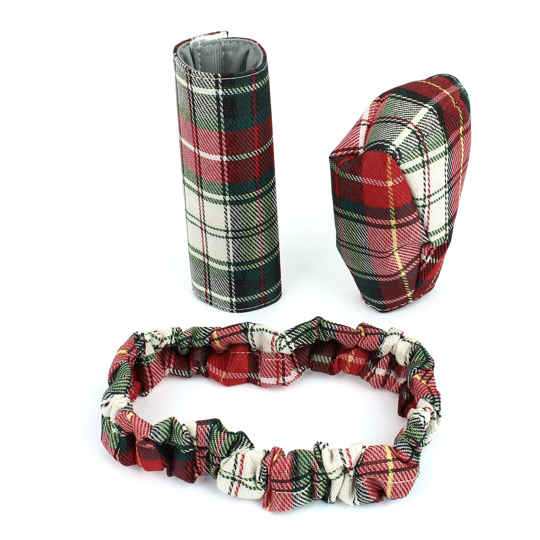 3 in 1 Car Red Green Grid Pattern Shift Knob Rearview Mirror Handbrake Cover Set