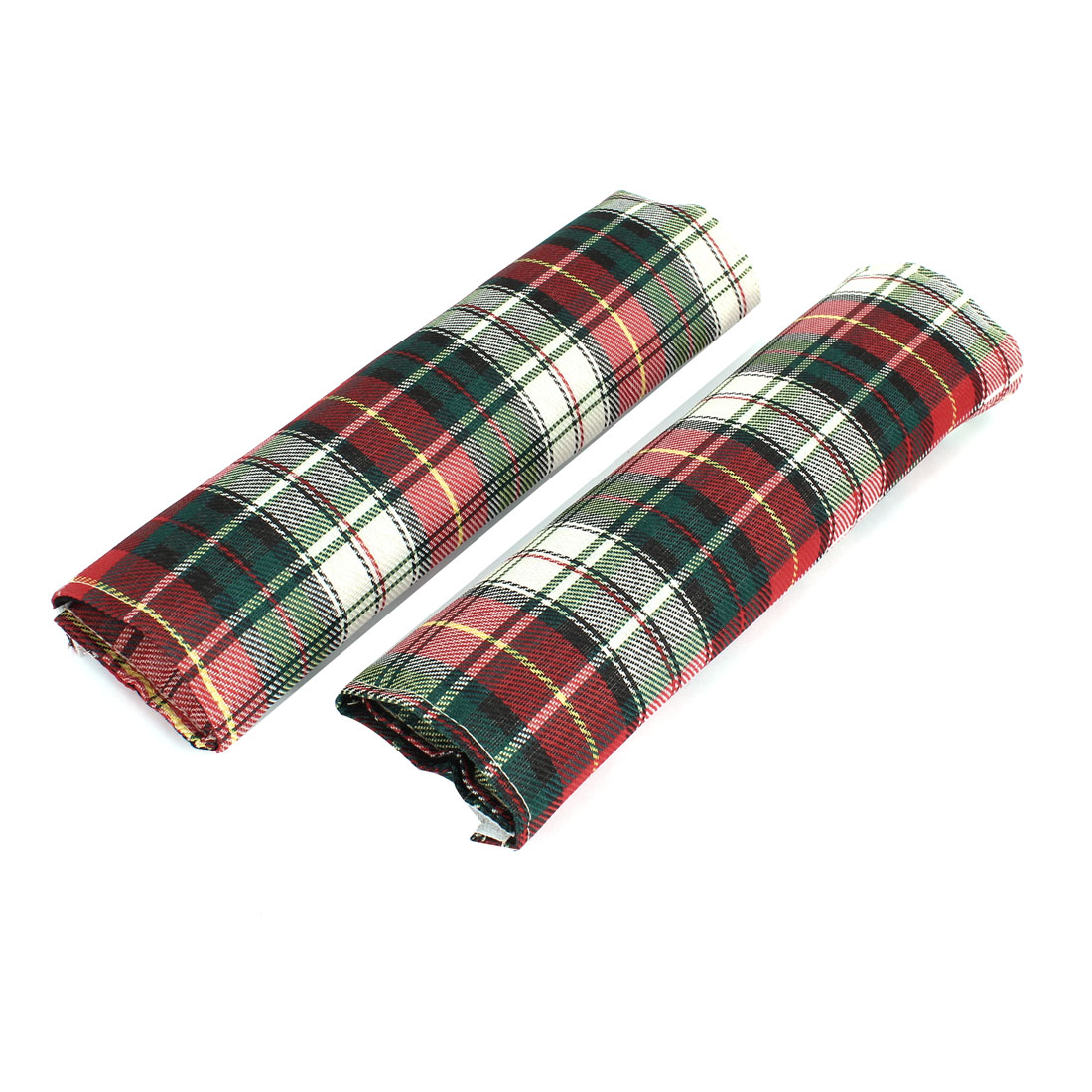 Pair Red Green Grid Pattern Car Safety Seat Belt Cover Shoulder Pad Sleeve