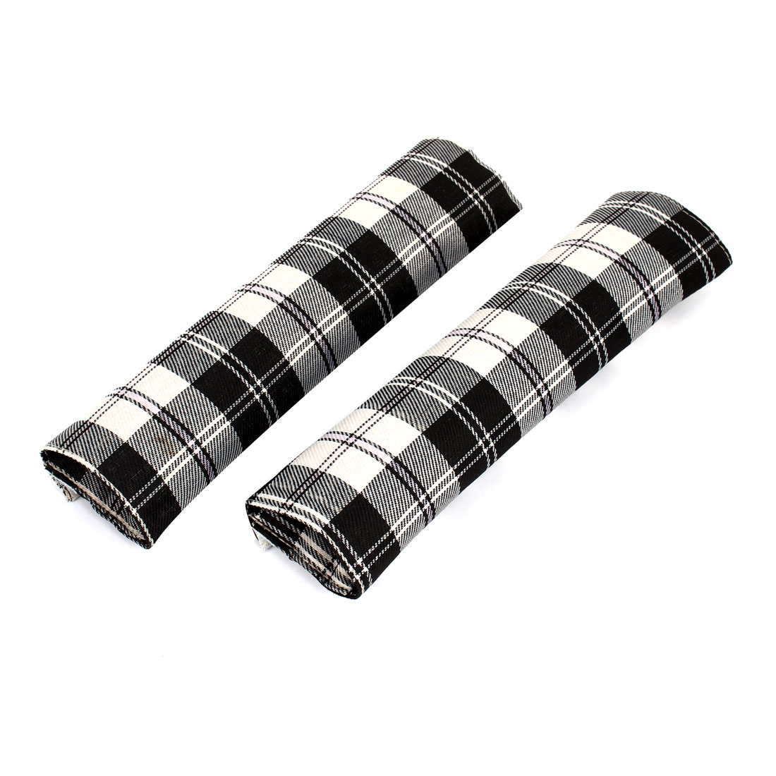 Pair Black White Grid Pattern Nylon Auto Car Safety Seat Belt Cover Pad Sleeve