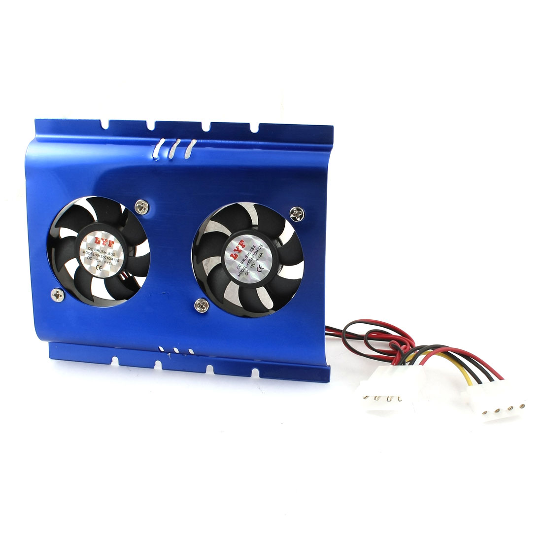 DC 12V Blue Double Fans Sleeve Bearing PC HDD Hard Disk Cooler