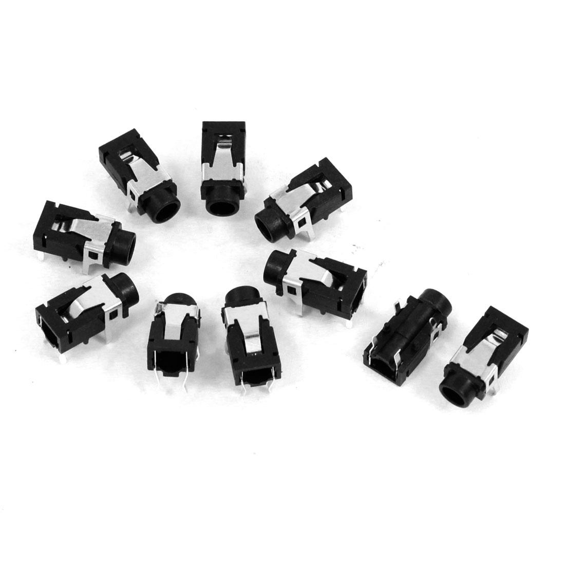 10 Pcs 4 Pin 3.5mm Stereo Jack Power Socket PCB Panel Mount for Headphone Earphone
