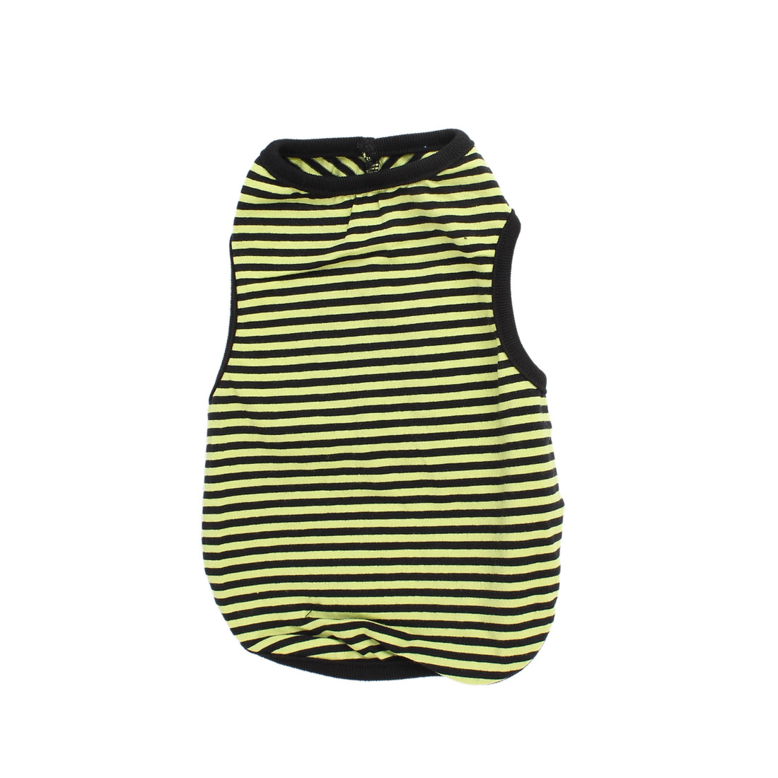 Pet Dog Yorkie Black Yellow Stripe Pattern Sleeveless Stretchy Tank Top Tee Shirt Vest Size M