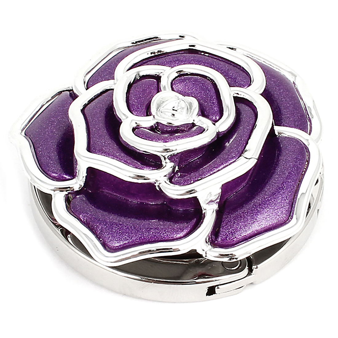 Ladies Purple Flower Design Round Base Foldable Handbag Hanger Hook