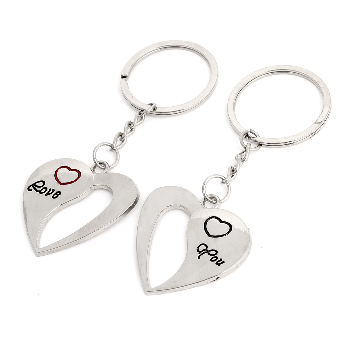 Lovers Letters Pattern Hearts Shape Pendent Keyrings Key Holder Pair