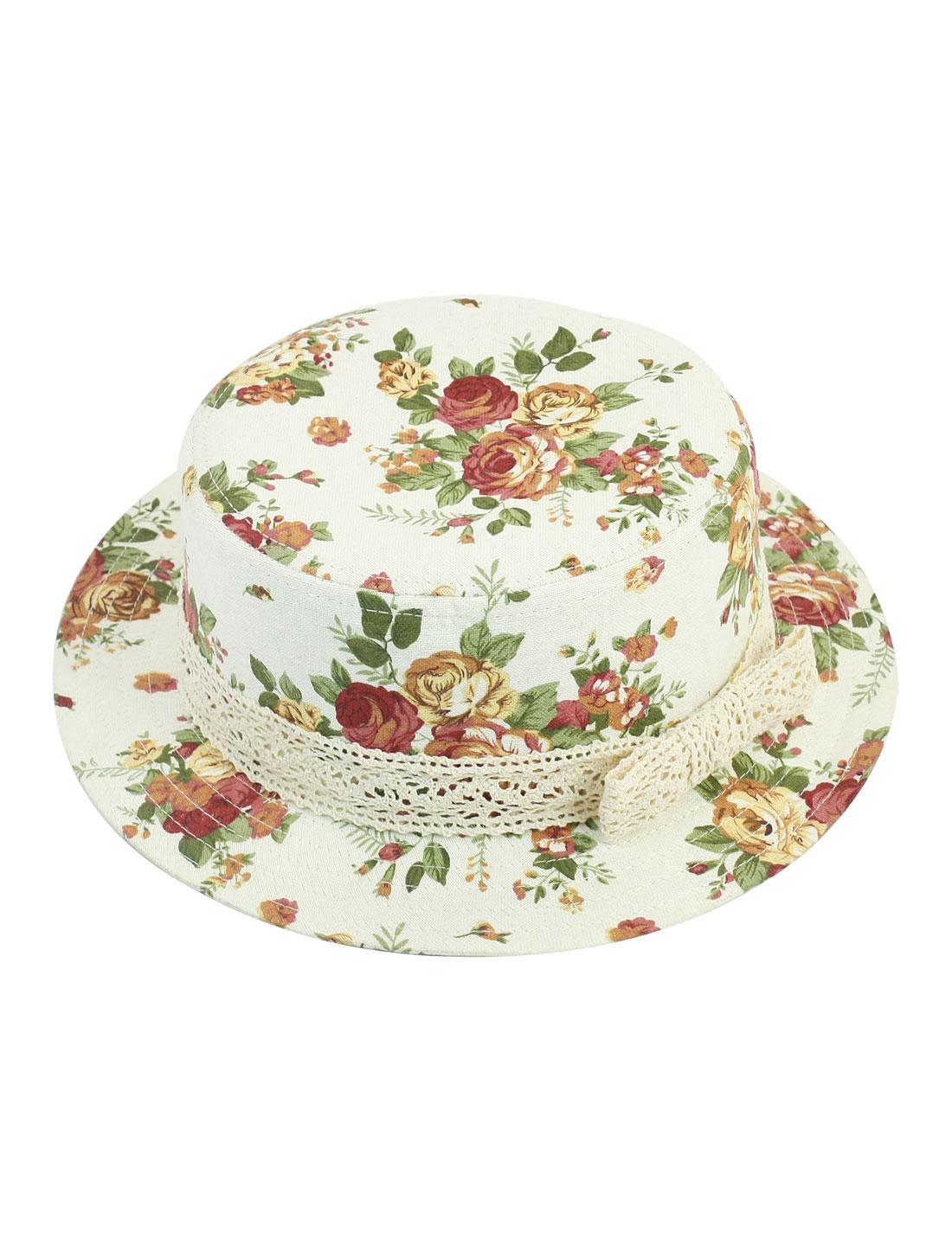 Woman Floral Prints Lace Bowknot Decoration Outdoors Beach Sun Hat Cap White