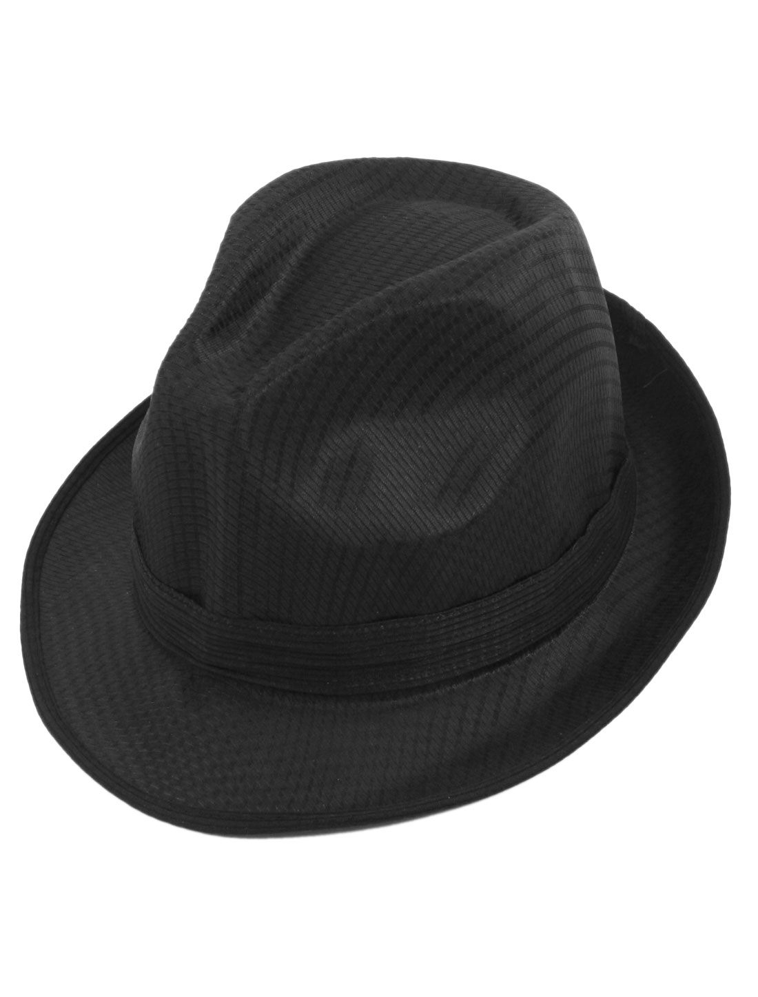 Black Lined Polyester Band Decor Homburg Fedora Hat for Man