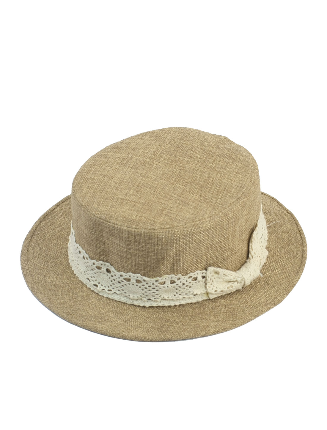Woman Lace Bowknot Decoration Outdoors Beach Sun Hat Cap Khaki