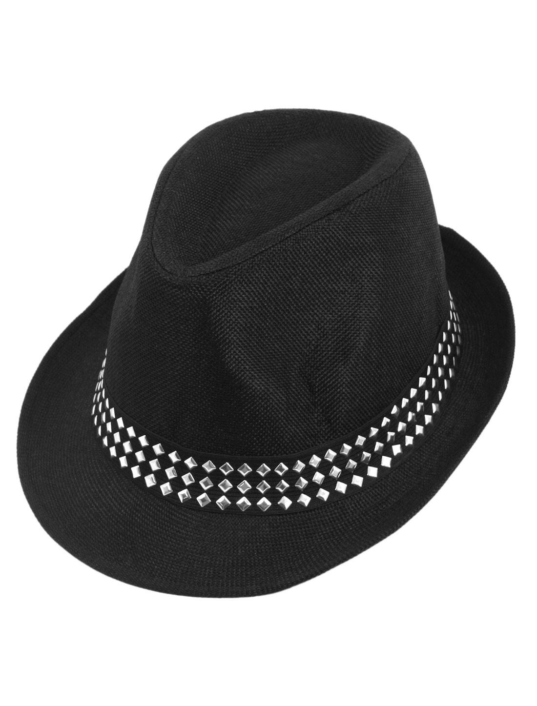 Black Rivet Decor Homburg Fedora Hat Visor Cap for Man