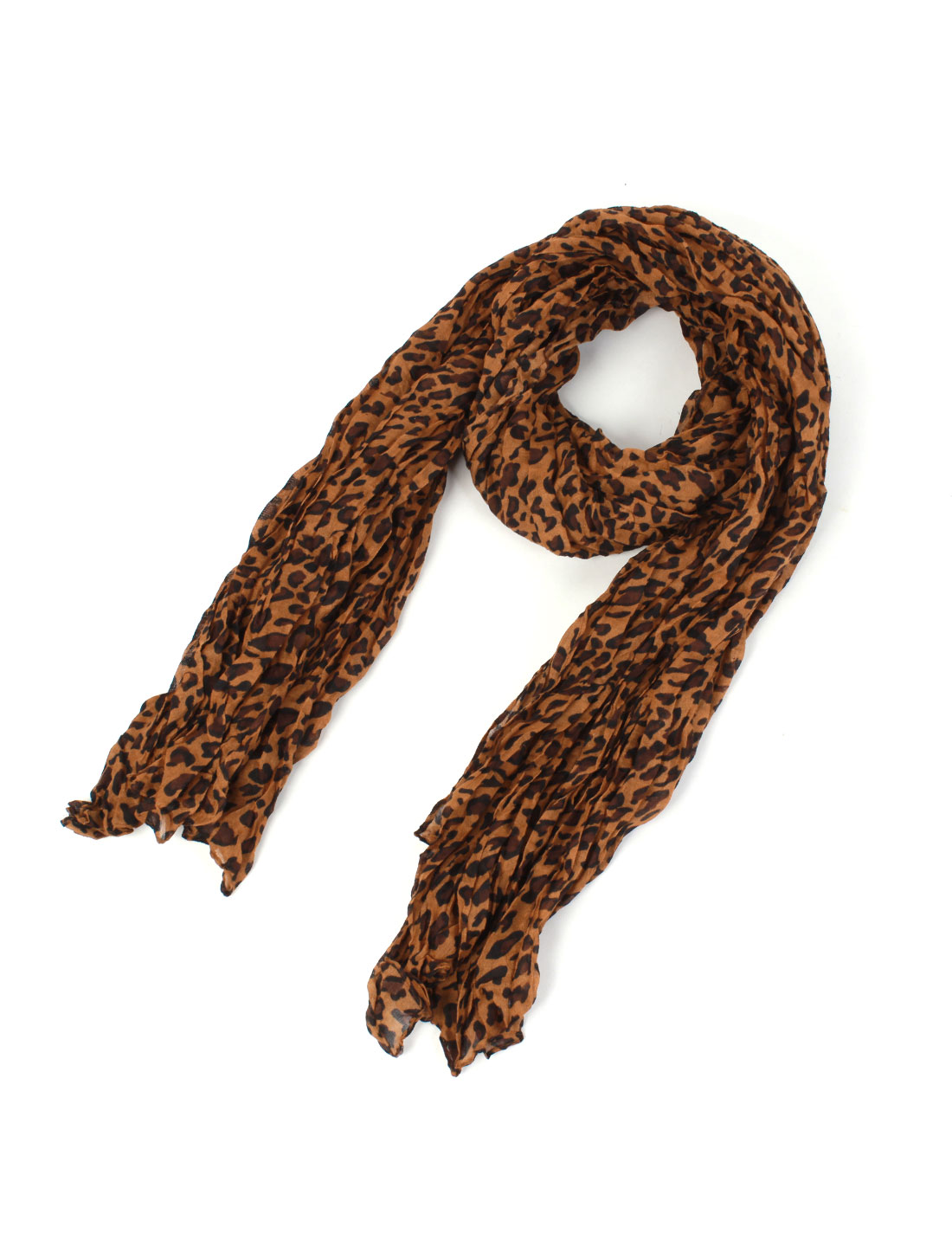 Woman Rectangular Leopard Pattern Cotton Voile Shawl Neck Wrap Scarf Brown