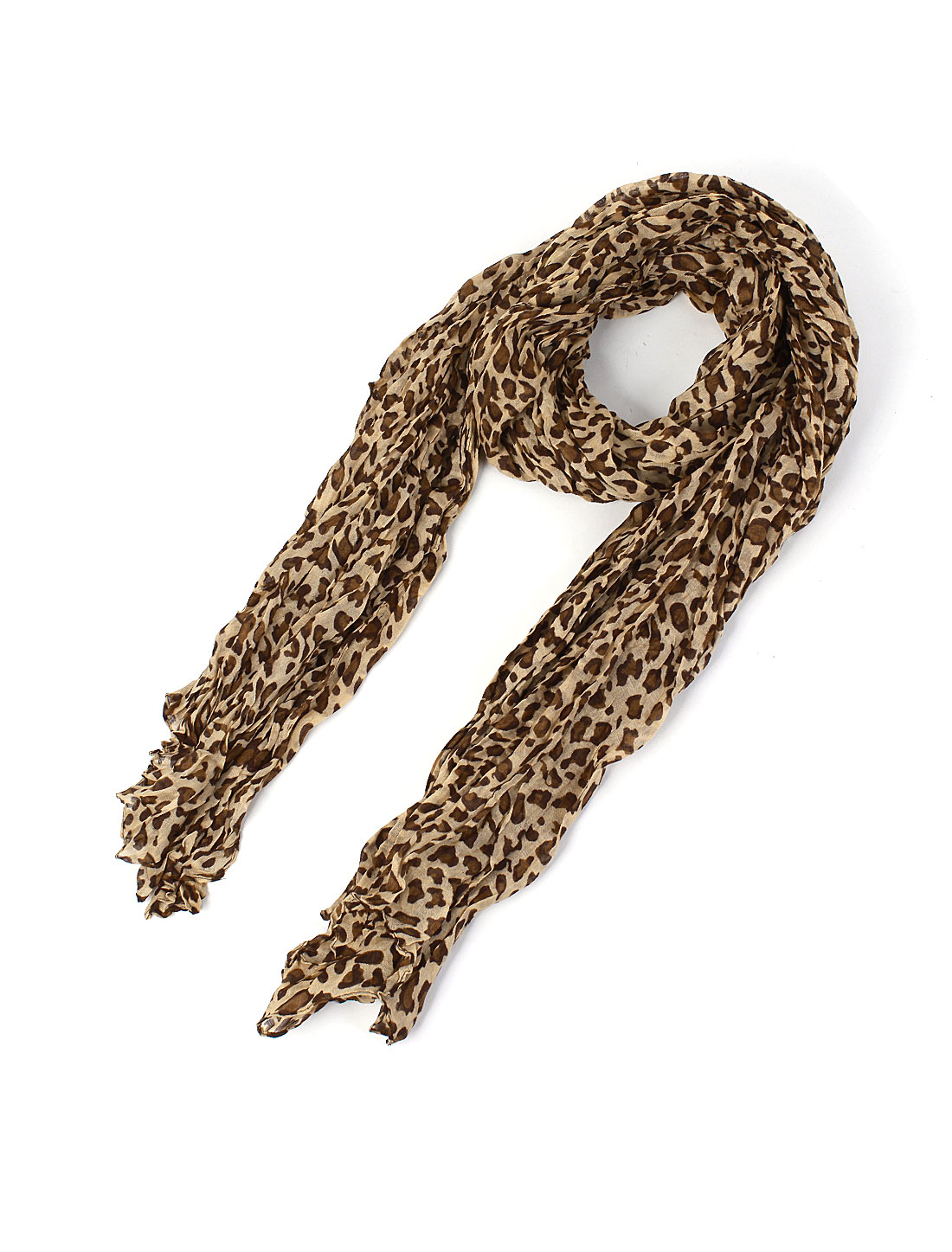 Woman Rectangular Leopard Pattern Cotton Voile Shawl Neck Wrap Scarf Light Brown